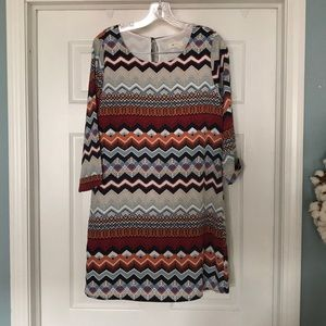 Everly aztec striped sheath dress size M